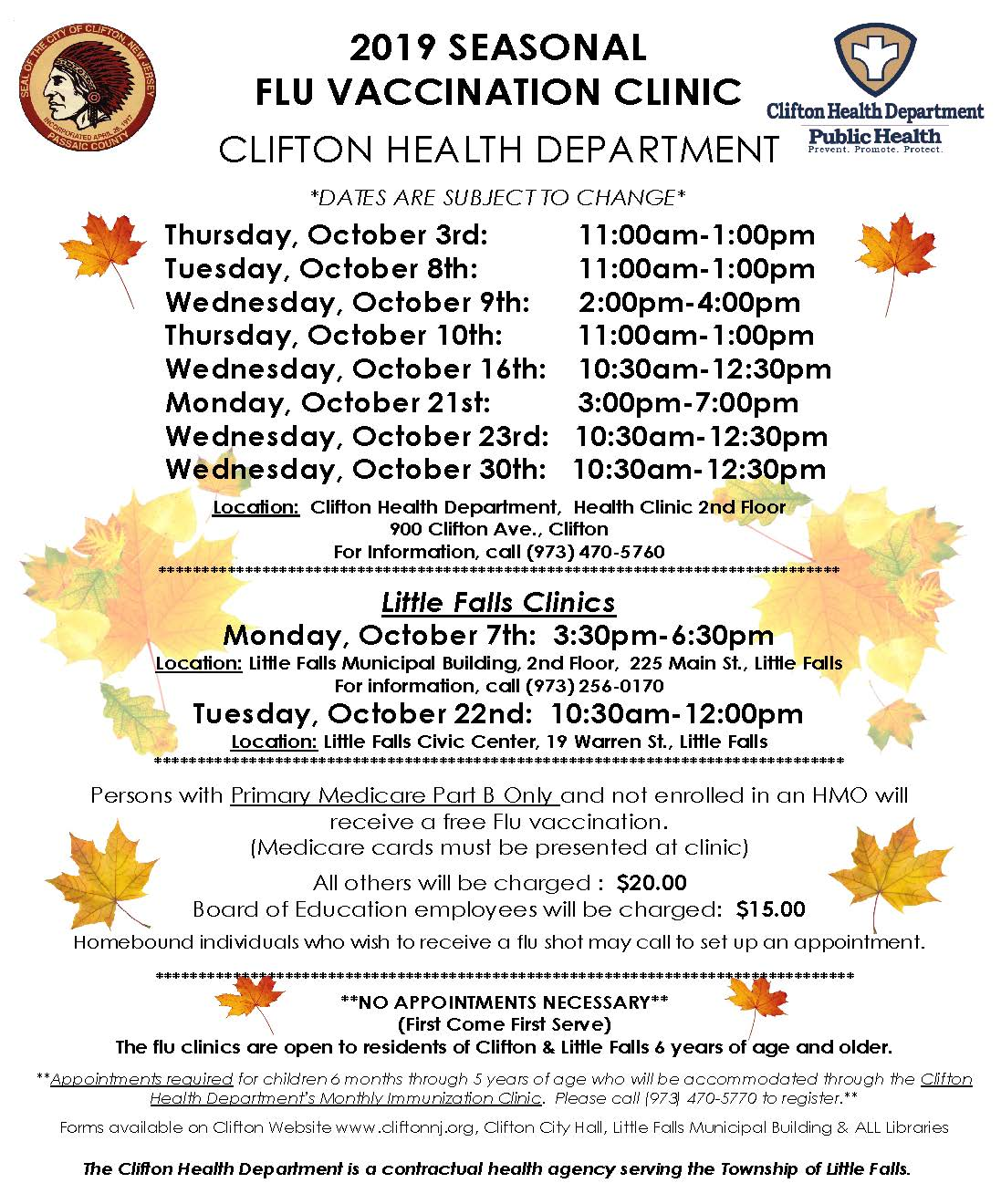 2019 Flu Clinic Dates - Clifton